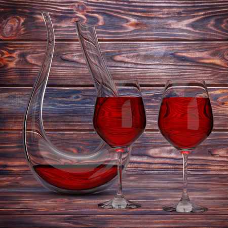 Glass Crystal Decanter with Red Wine and Two Wine Glasses on a wooden table. 3d Rendering