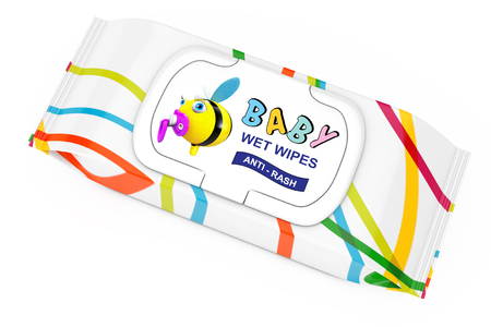 Baby Wet Wipes Package on a white background. 3d Rendering