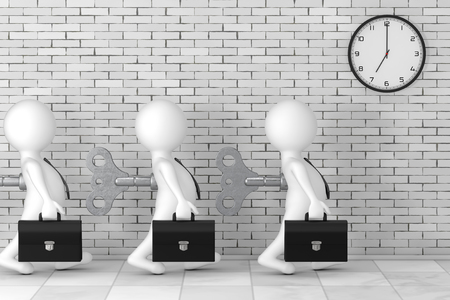 3d Businessman Persons with Old Metal Windup Key in Their Back in front of Brick Wall with Modern Clock extreme closeup. 3d Rendering
