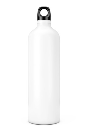 White Aluminum Bike Water Sport Bottle Mockup on a white background. 3d Rendering Stok Fotoğraf - 98193999