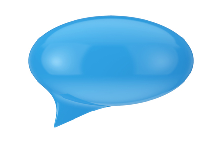Blue Speech Bubble with Blank Space for Yours Sign on a white background. 3d Rendering