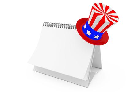 Uncle Sam Independence Day Celebration Hat over Blank Paper Desk Spiral Calendar on a white background. 3d Rendering