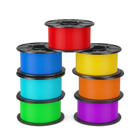 3d Printer Color Filament Coils on a white background. 3d Rendering Stock Photo - 98194171