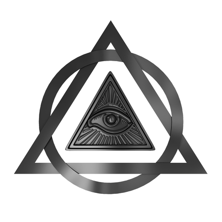 Masonic Symbol Concept. All Seeing Eye inside Pyramid Triangle on a white background. 3d Rendering
