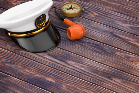 Naval Officer, Admiral, Navy Ship Captain Hat with Vintage Smoking Tobacco Pipe and Brass Compass on a wooden table. 3d Rendering