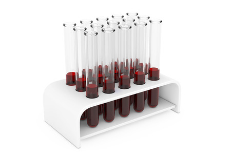 Glass Laboratory Chemical Test Tubes Flasks with Blood Samples in Holder on a white background. 3d Rendering