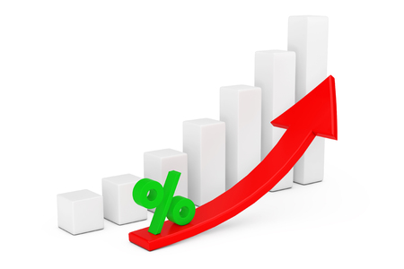 Growing Business Bar Chart with Rising Red Arrow and Percent Sign on a white background. 3d Rendering  Stock Photo