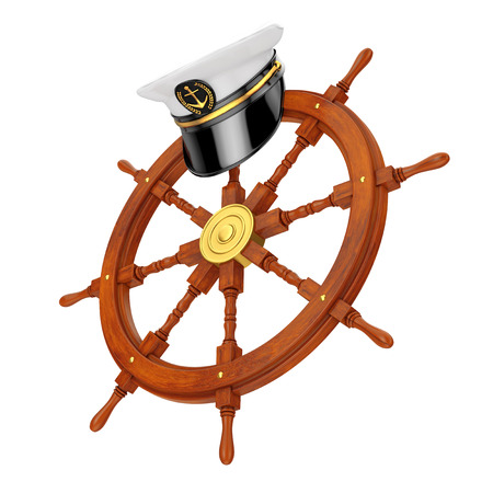 Naval Officer, Admiral, Navy Ship Captain Hat over Ship Steering Wheel on a white background. 3d Rendering