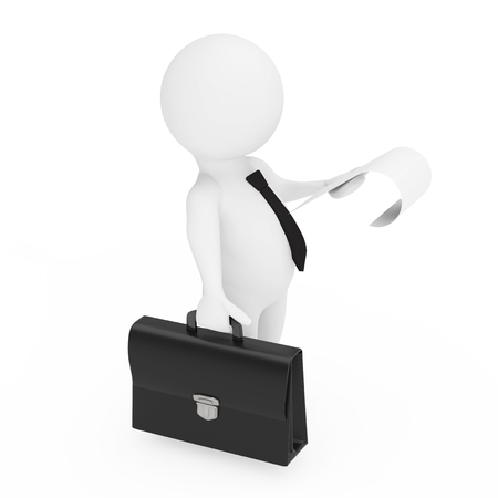 3d Businessman with Black Leather Briefcase and a Sheet of Paper in His Hands on a white background. 3d Rendering  스톡 콘텐츠