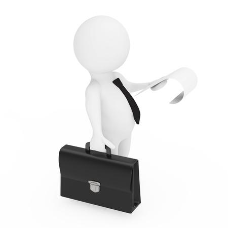 Geschäftsmann 3d mit schwarzen lederner Aktenkoffer und einem Blatt Papier in den Händen auf einem weißen Hintergrund . 3D-Rendering Standard-Bild - 98194610