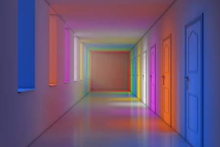 Color Lights in Modern Long Office, School, Hotel or Hospital Corridor extreme closeup. 3d Rendering  Stock Photo