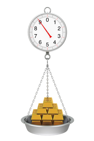 Hanging Weight Scale with Stack of Golden Bars on a white background. 3d Rendering