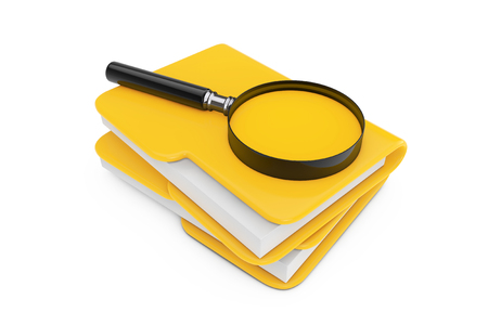 Search Files Concept. Magnifying Glass over File Folders on a white background. 3d Rendering  Stock Photo