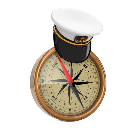 Naval Officer, Admiral, Navy Ship Captain Hat over Antique Vintage Brass Compass on a white background. 3d Rendering