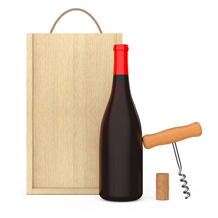 Wine Bottle, Wooden Wine Corkscrew and Cork near Blank Wooden Wine Pack with Handle on a white background. 3d Rendering