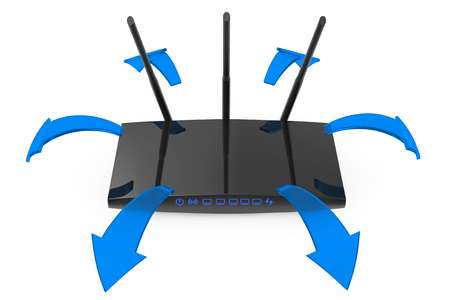 Modern WiFi Router with Glowing Blue Signal Arrows on a white background. 3d Rendering 스톡 콘텐츠