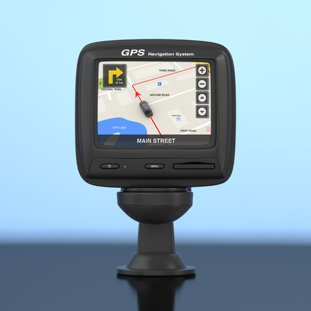 Navigation and Global Positioning System GPS Device with Navigation City Map on the Screen on a blue background. 3d Rendering  Stock Photo