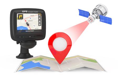 Radiodifusión satelital moderna a mapa de navegación con puntero de mapa cerca del dispositivo de navegación GPS con mapa de la ciudad en la pantalla sobre un fondo blanco. Representación 3D Foto de archivo