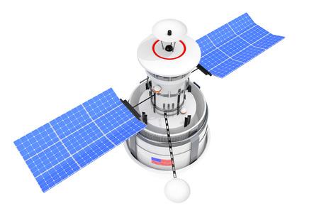 Modern World Global Navigation Satelite on a white background. 3d Rendering Foto de archivo