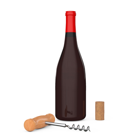 Wine Bottle, Wooden Wine Corkscrew and Cork on a white background. 3d Rendering