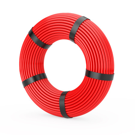 Red Skein Network Plastic Cable on a white background. 3d Rendering