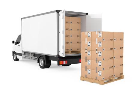 Preparare il concetto di spedizione. Furgone di consegna di carico industriale commerciale bianco camion vicino a pila di scatole di cartone su pallet su sfondo bianco. Rendering 3D