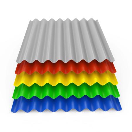 Pila de hojas onduladas de acero galvanizado de zinc metálico de color para techo sobre un fondo blanco. Representación 3D