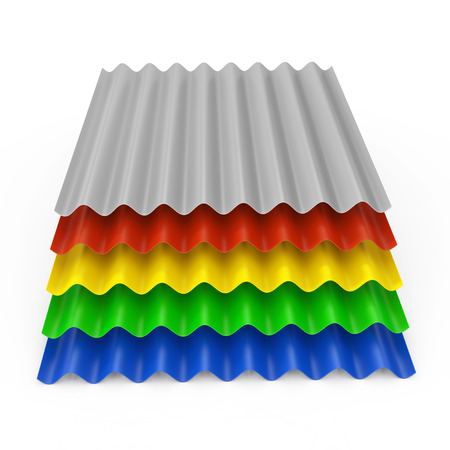 Stack of Steel Color Metal Zinc Galvanized Wave Sheets for Roof on a white background. 3d Rendering  Stock Photo