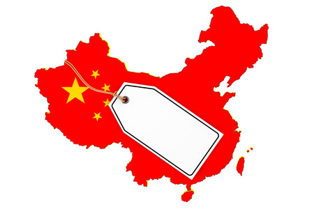 Map of China with Flag and Blank Sale Tag on a white background. 3d Rendering