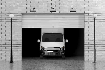 Cargo Van in Garage with Rolling Shutter Gate Door, Brick Wall and Street Lights extreme closeup. 3d Rendering Banque d'images - 102220087