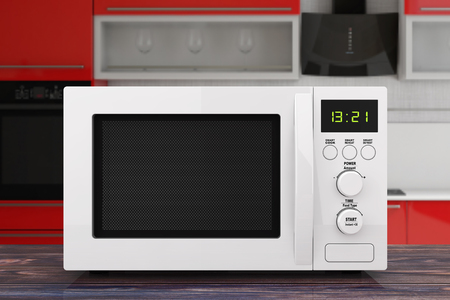 White Microwave Oven on a wooden table. 3d Rendering Imagens - 102220126