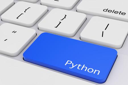 Blue Python Key on White PC Keyboard extreme closeup. 3d Rendering