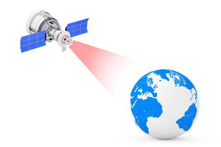 Modern Satelite Broadcasting to Earth Globe on a white background. 3d Rendering Banque d'images