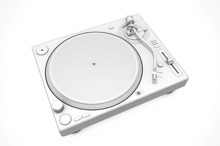 White Clay Style Professional DJ Turntable Vinyl Record Player on a white background. 3d Rendering Banque d'images