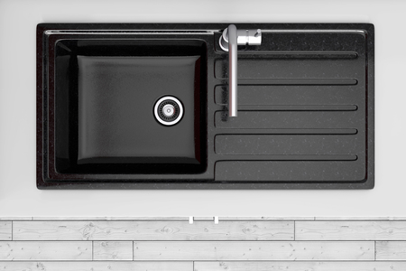 Modern Kitchen with Black Kitchen Sink and Tap Water top view extreme closeup. 3d Rendering