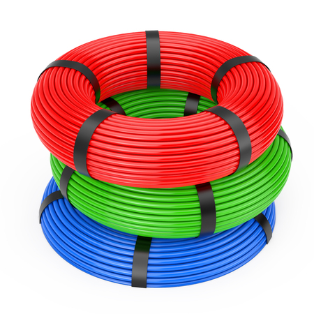 Multicolor Skein Network Plastic Cables on a white background. 3d Rendering