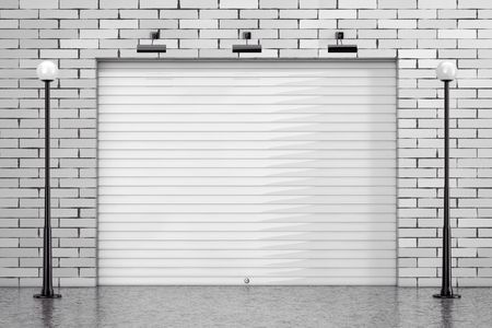 Garage Rolling Shutter Gate Door with Brick Wall and Street Lights extreme closeup. 3d Rendering Banque d'images - 102220253