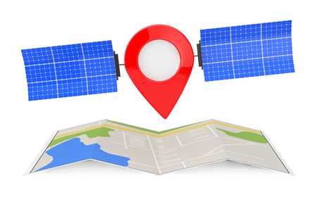 Map Pointer Pin as Satelite over Folded Abstract Navigation Map on a white background. 3d Rendering