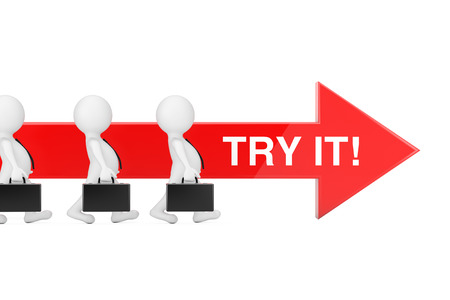 Businessman Persons Walk Forward in Direction of Red Progress Arrow with Try It Sign on a white background. 3d Rendering
