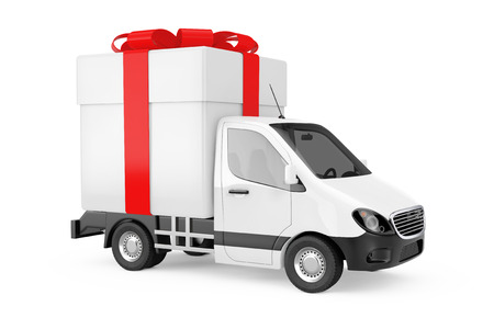 White Commercial Industrial Cargo Delivery Van Truck Loaded with Gift Box and Red Ribbon on a white background. 3d Rendering