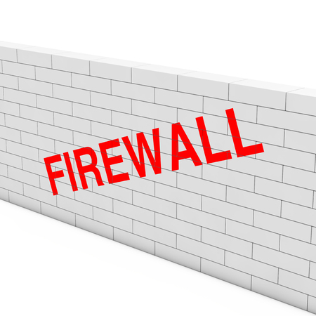 Firewall Concept. White Brick Wall with Firewall Sign on a white background. 3d Rendering Stock Photo