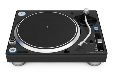 Professional DJ Turntable Vinyl Record Player on a white background. 3d Rendering Banque d'images