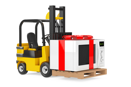 Forklift Truck moves Microwave Oven Gift with Red Ribbon and Bow on a white background. 3d Rendering