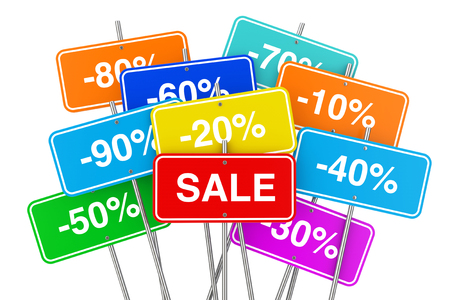 Multicolour Sale Placards with Many Percent Discounts on a white background. 3d Rendering Banco de Imagens