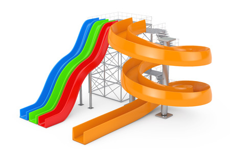 Colorful Aquapark Water Slides on a white background. 3d Rendering