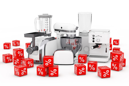 Kitchen Appliances Set. White Blender, Toaster, Coffee Machine, Meat Ginder, Food Mixer and Coffee Grinder with Red Discount Percent Cubes on a white background. 3d Rendering