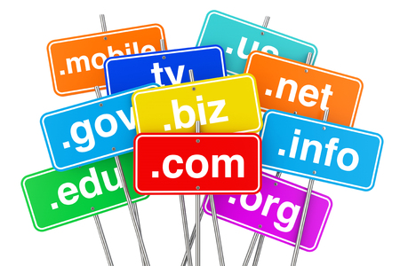Internet Concept. Domain Name Color Signs on a white background. 3d Rendering