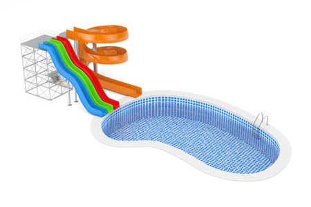 Colorful Aquapark Water Slides near Blue Outdoor Swimming Water Pool with Ladder on a white background. 3d Rendering