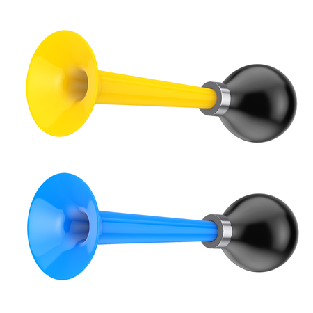 Yellow and Blue Vintage Bicycle Air Horns on a white background. 3d Rendering