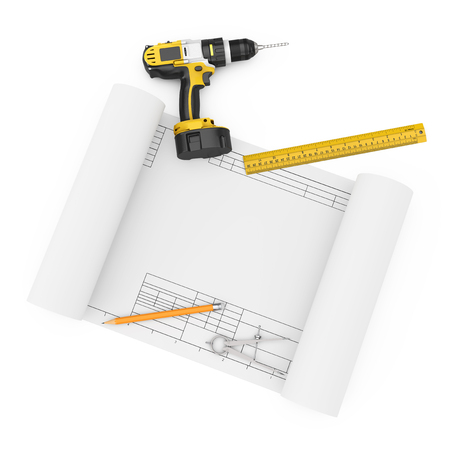 Rechargeable Cordless Drill, Pencil, Ruller and Compass Drawing with Drawing Template on a white background. 3d Rendering 스톡 콘텐츠